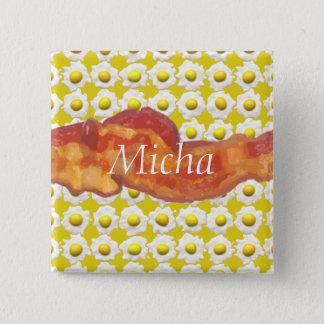 Eggs & Bacon Breakfast Monogram 15 Cm Square Badge