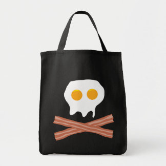Eggs Bacon Skull Grocery Tote Bag