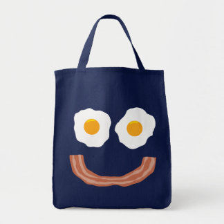 Eggs Bacon Smiley Grocery Tote Bag