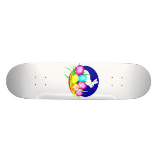 Eggs bunny blue oval graphic png skateboards