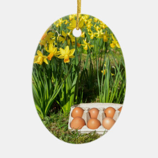Eggs in box on grass with yellow daffodils ceramic oval decoration