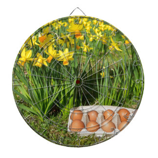 Eggs in box on grass with yellow daffodils dartboard