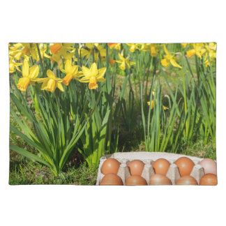 Eggs in box on grass with yellow daffodils placemat