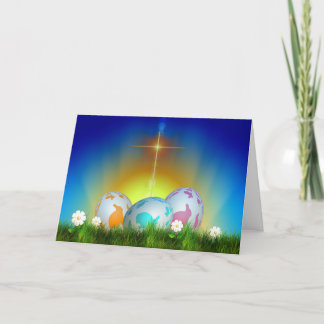 Eggs, Sunrise, and Cross Easter Holiday Card