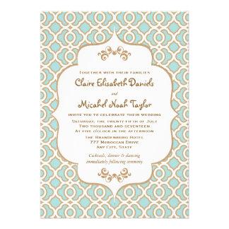 Eggshell Blue and Gold Moroccan Wedding Invitation