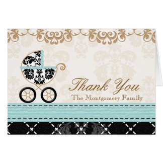 Eggshell Blue Damas Baby Carriage Shower Thank You Note Card