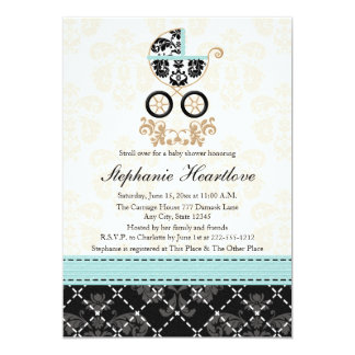 Eggshell Blue Damask Baby Carriage Baby Shower Card