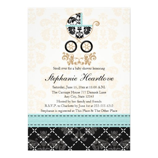 Eggshell Blue Damask Baby Carriage Baby Shower Custom Announcements