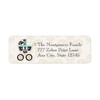 Eggshell Blue Damask Print Baby Carriage Return Return Address Label