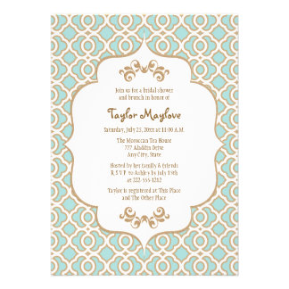 Eggshell Blue Gold Moroccan Bridal Shower Invites