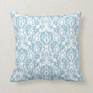 Eggshell Blue Moroccan Damask Throw Cushion