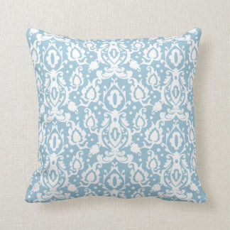 Eggshell Blue Moroccan Damask Throw Pillow