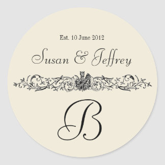 Eggshell Monogram Logo Names Date Wedding Label Round Sticker