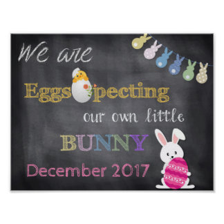 Eggspecting Easter Pregnancy Reveal Announcement Poster