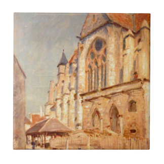 Eglise de Moret by Alfred Sisley Small Square Tile