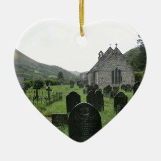 Eglwys Tydecho Sant (Llanmawddwy Parish Church) Ceramic Heart Decoration