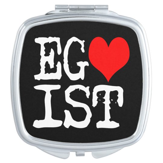 Egoist Red Heart Black Compact Mirror