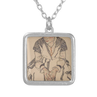 Egon Schiele- Artist's Sister in Law Silver Plated Necklace