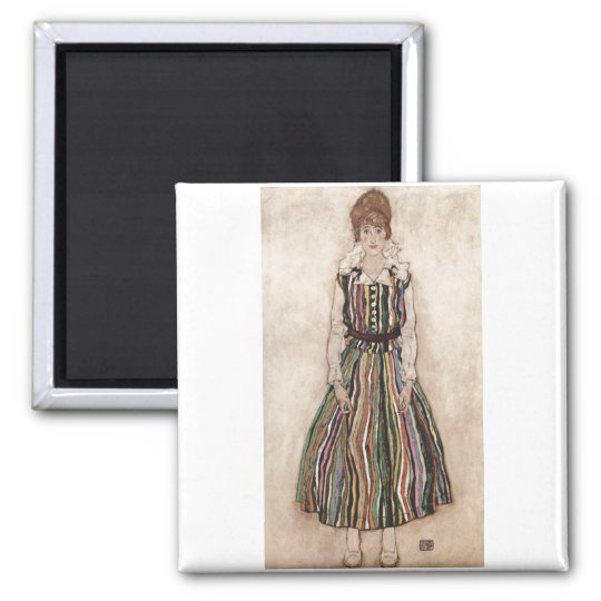 Egon Schiele - Edith Schiele in Striped Dress 1915 Magnet