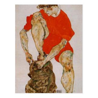 Egon Schiele-Female Model in Red Jacket & Pants Postcard