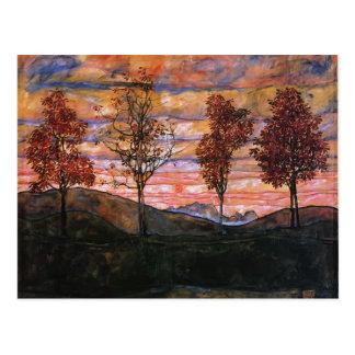 Egon Schiele- Four Trees Postcard