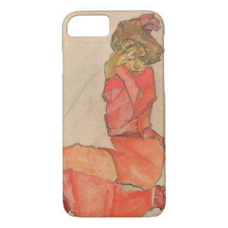 Egon Schiele Kneeling Female in Orange Red Dress iPhone 8/7 Case