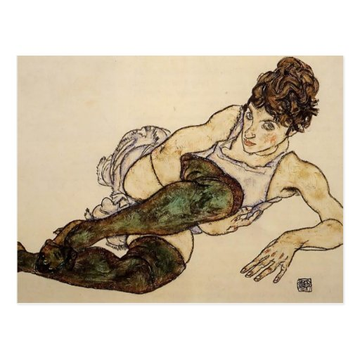 Egon Schiele- Reclining Woman with Green Stockings Post Cards