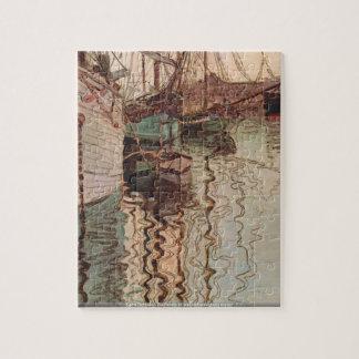 Egon Schiele - Sailboats in wellenbewegtem water Jigsaw Puzzle