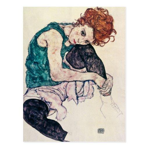 Egon Schiele Seated Woman Postcard