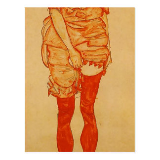 Egon Schiele- Standing Woman in Red Postcard