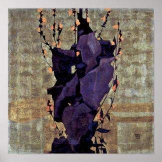 Egon Schiele - Stylized flowers still life Poster