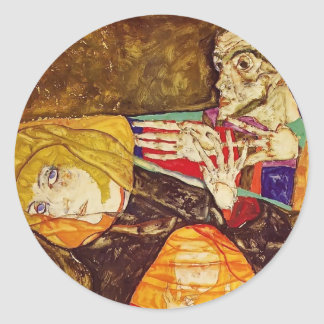 Egon Schiele- The Holy Family Round Stickers