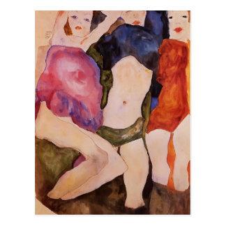 Egon Schiele- Three Girls Postcard