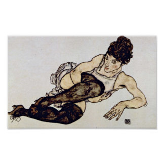 Egon Schiele - Woman with Green Stockings Poster