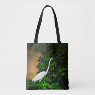 Egret eating veggies, on a tote bag
