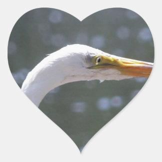 egret heart sticker