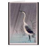 Egret in Rain by Seitei Watanabe 1851- 1918 Greeting Card