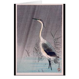 Egret in Rain by Seitei Watanabe 1851- 1918 Card
