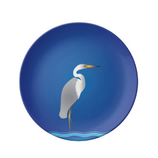 Egret on the Beach Porcelain Plates