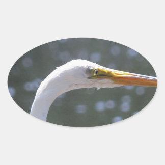 egret oval sticker
