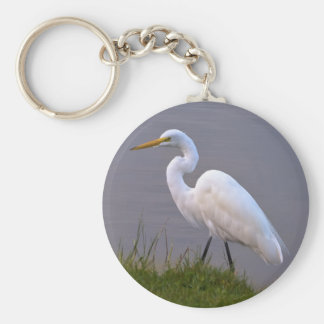 Egret Strolling in the Sunlight Keychain