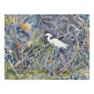 Egret. Watercolor print