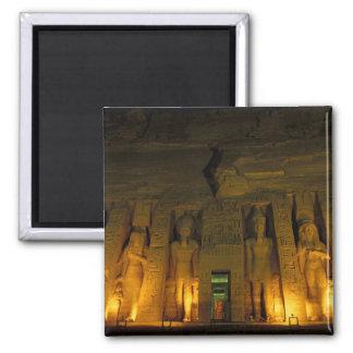Egypt, Abu Simbel, Lighted facade of Small Square Magnet