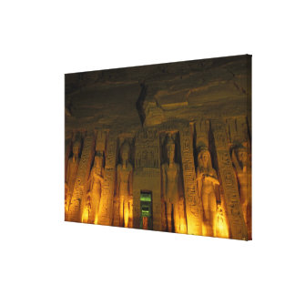 Egypt, Abu Simbel, Lighted facade of Small Stretched Canvas Prints