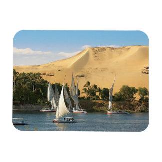 Egypt, Aswan, Nile River, Felucca sailboats, 2 Rectangular Photo Magnet