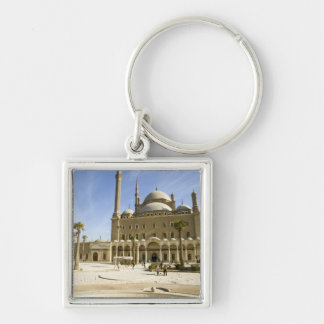 Egypt, Cairo. The imposing Mohammed Ali Mosque Silver-Colored Square Key Ring
