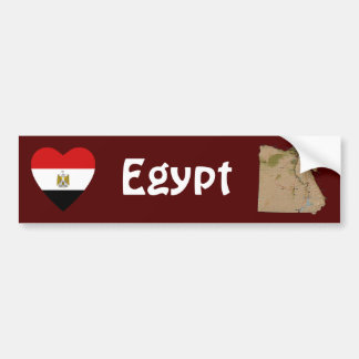 Egypt Flag Heart + Map Bumper Sticker