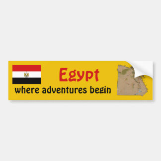 Egypt Flag + Map Bumper Sticker