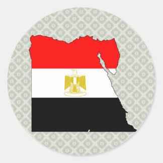 Egypt Flag Map full size Classic Round Sticker