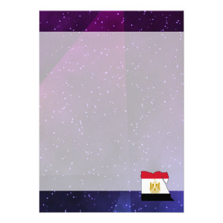 egypt Flag Map on abstract space background 13 Cm X 18 Cm Invitation Card